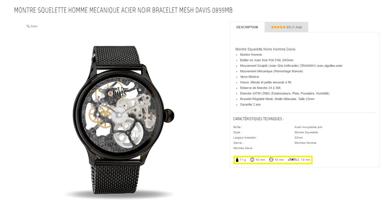 La page produit bien renseignée pour contrer la barrière de l'achat en ligne sur le site montres Davis