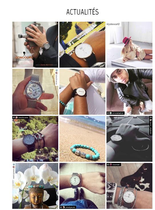 Montres Davis présente un onglet actualités où s'alimentent des photos des montres des clients